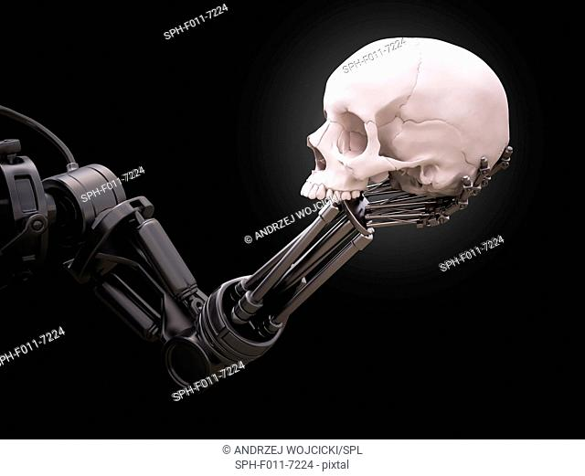 Robotic hand holding a skull, computer illustration
