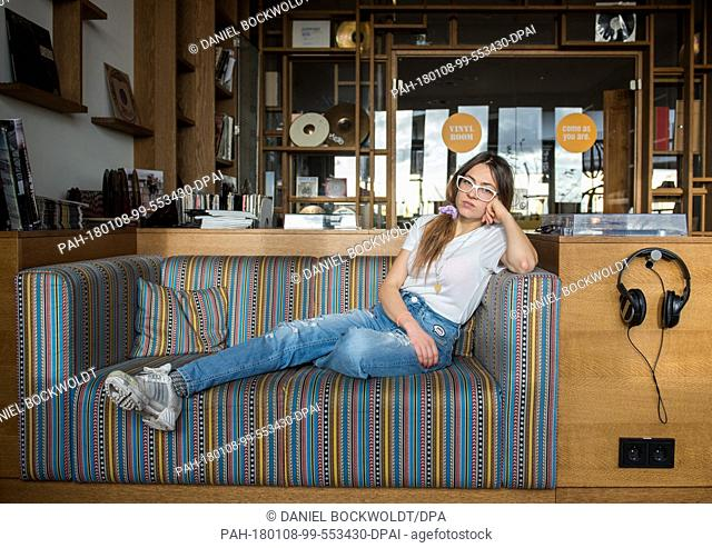 Rapper Haiyiti (Ronja Zschoche) sits on a sofa in Hamburg, Germany, 21 September 2017. On 12 January 2018 here second LP 'Montenegro Zero' will be released