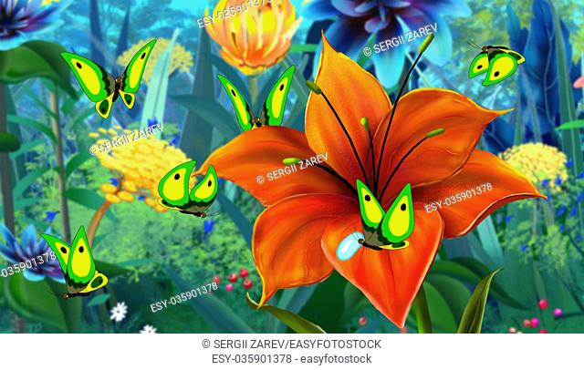 Green Butterfly Flew on a Flower. Digital painting cartoon style full color illustration