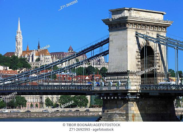 Hungary, Budapest, Castle District, skyline, Chain Bridge, Danube River,