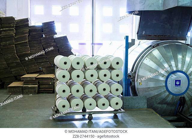Cotton spools inside cotton mill Multan Pakistan