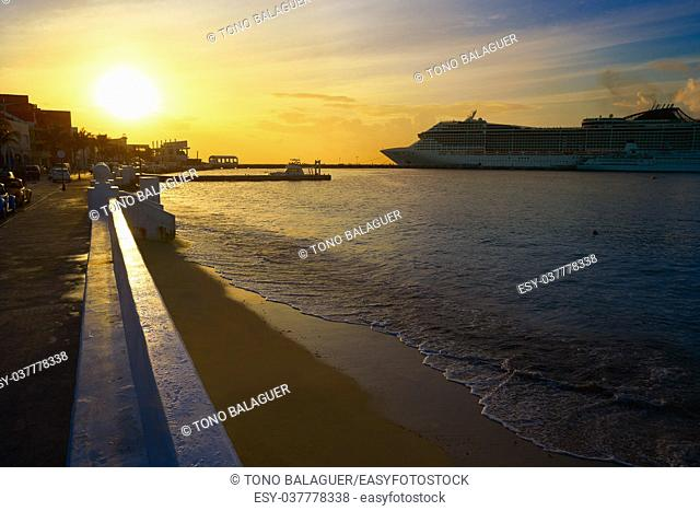 Cozumel island sunset in Riviera Maya of Mayan Mexico