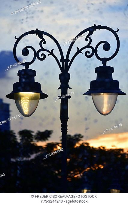 Lamp post in Preach Suramit Boulevard Park, Phnom Penh, Cambodia, South east Asia