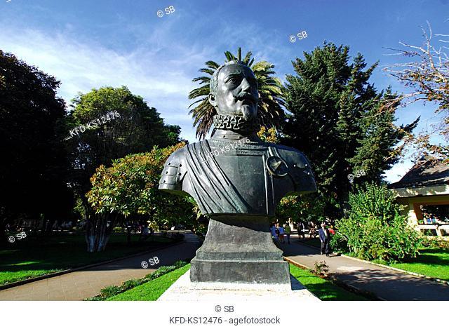 Chile, Cañete, Plaza de Armas, Don Pedro de Valdivia Statue, Province of Arauco, Region VIII of Bio Bio, South America
