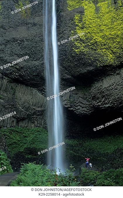 Latourelle falls and human figures, Columbia Gorge National Scenic Area, Oregon, USA