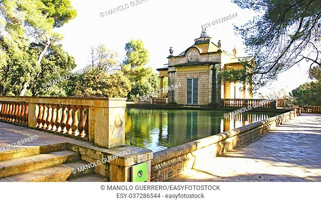 Pond and house in the Labyrinth of Horta in Barcelona, Catalunya, Spain
