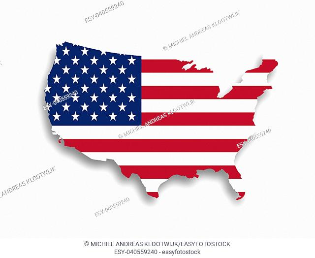 United states map with the flag inside