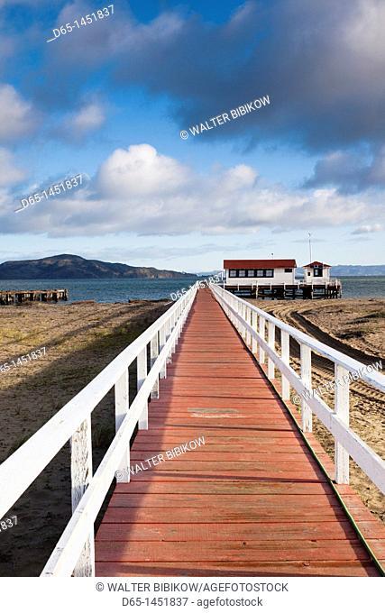 USA, California, San Francisco, Presidio, Golden Gate National Recreation Area, Crissy Field pier, morning