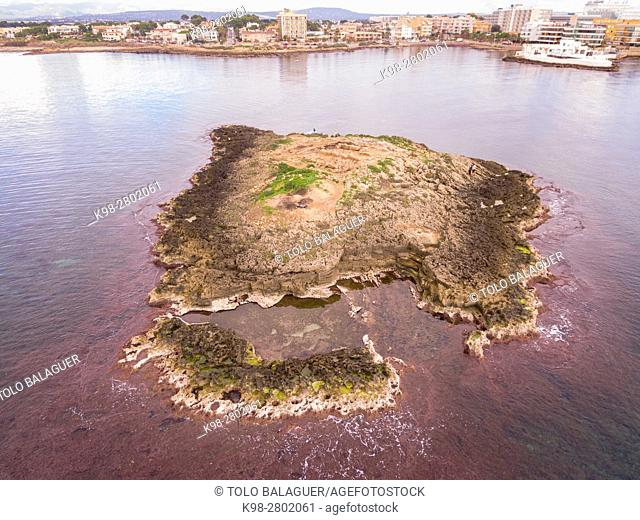 Punic archaeological site, Na Galera islet, Can Pastilla, Palma, Mallorca, balearic islands, spain, europe