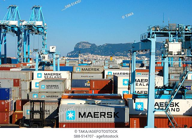 Algeciras port. Second biggest port in Europa after Amsterdam. Containers come and go to all of the world. Front Line between Europe to Africa
