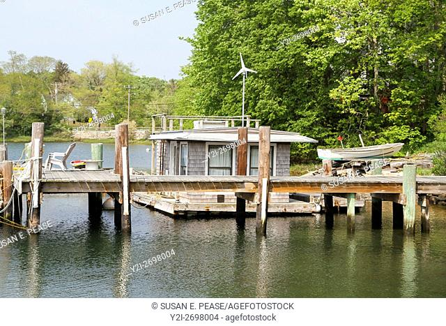 A small housebout in Woods Hole, Falmouth, Cape Cod, Massachusetts, United States, North America. Editorial use only
