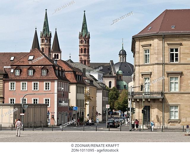 View from Wuerzburg Residence to Cathedral, German