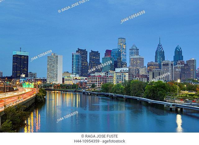 Autumn, Pennsylvania, Philadelphia, USA, United States, America, architecture, center, city, downtown, highway, reflection, skyline, touristic, travel, river