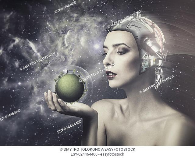 Cyborg woman, abstract science and technology backgrounds
