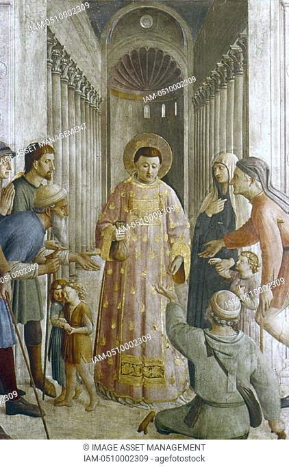 Fra Angelico Guido di Pietro/Giovanni da Fiesole c1400-55 Italian painter  'St Lawrence giving Alms to the Poor'  Fresco  Chapel of Nicholas V, Vatican Palace