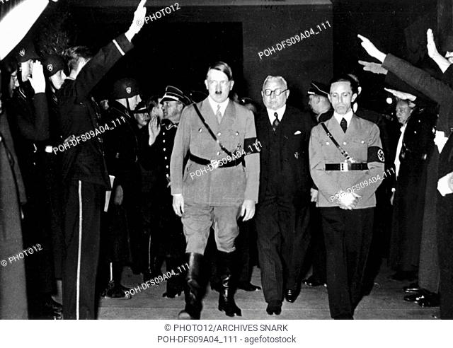 Hitler and Goebbels in a movie shot by the U.F.A. (Universum Film A.G.) 1933 Germany
