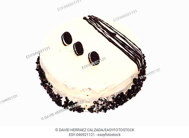 Delicious white chocolate cake isolated on white background