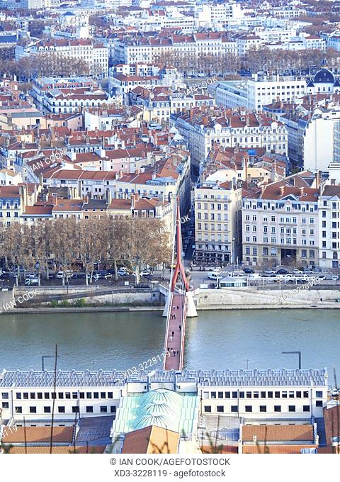 view of city from Notre Dame de Fourviere Basilica, Lyon, France