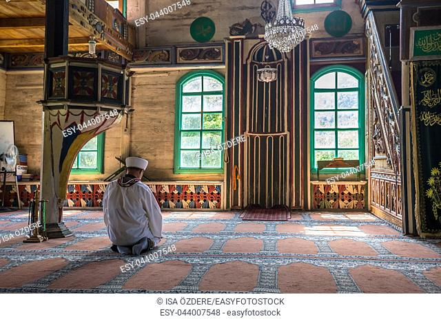 Interior detail of Artvin,Macahel,Camili Camii(mosque),coverd with wooden boards built in Eighteen century. TURKEY,Artvin,August 18, 2015