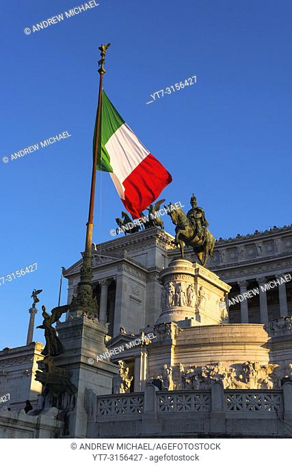 Italian flag flying at the Monument to Vittorio Emanuele II, Rome. Italy