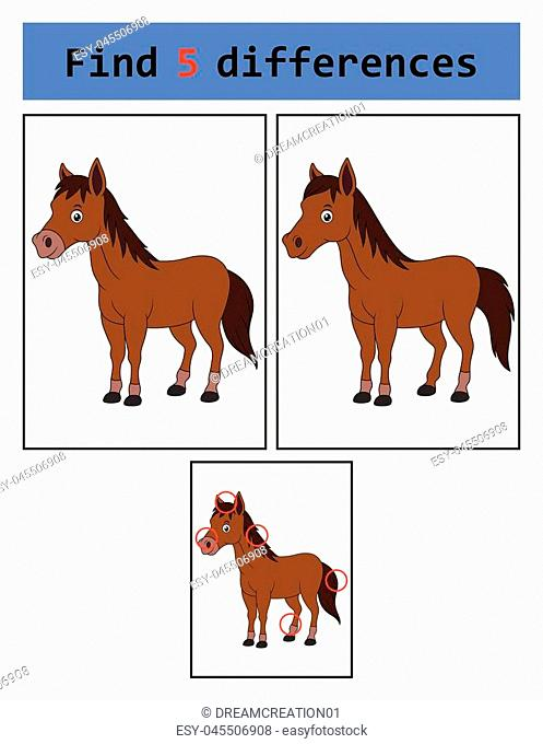 Vector Illustration of Find 5 differences (horse)