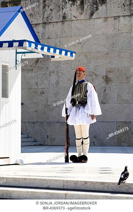 Evzone in front of the Tomb of the Unknown Soldier on Syntagma Square in Athens, Parliament, Greece
