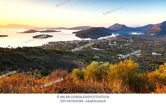 Morning view of Nydri village on Lefkada island and several islands, Greece.