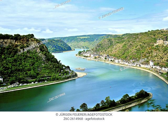 View to the Rhine at Sankt Goarshausen, near Lorelei, Upper Middle Rhine Valley, Germany