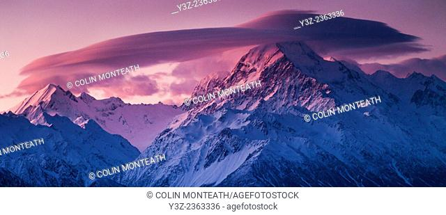 Windcloud over Aoraki / Mount Cook, winter sunset from Ben Ohau Range, Aoraki / Mount Cook National Park, Mackenzie country,