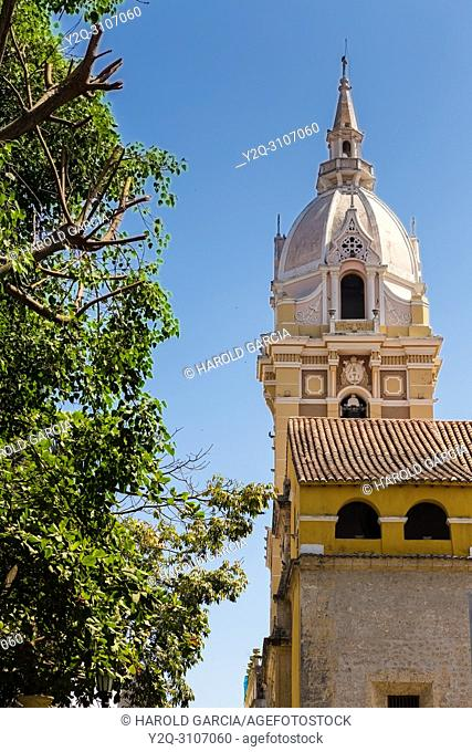 Cathedral Basilica of Saint Catherine of Alexandria in the ancient walled city of Cartagena de Indias. UNESCO's historical patrimony of humanity