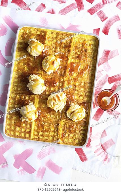 Waffle bread and butter pudding