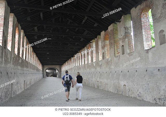 Vigevano, Italy: covered arcade at Castello Sforzesco
