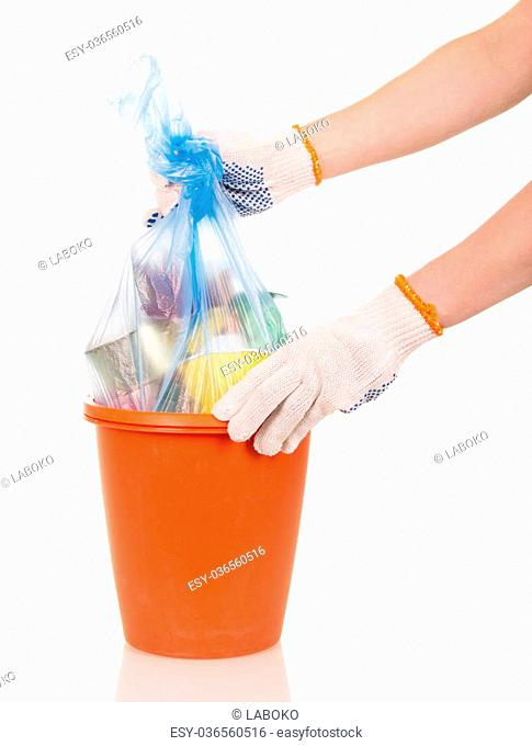 Hands shaking package waste in buckets isolated on white background