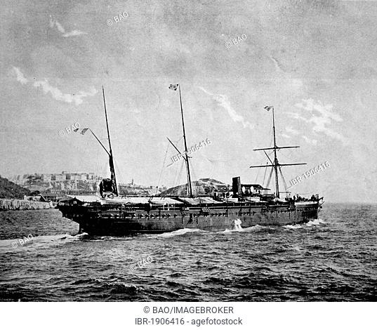 Early autotype of the arrival of the ship L'Iraouaddi in Madagascar, Africa, 1880