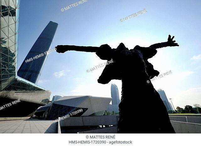 China, Guangdong province, Guangzhou, Zhujiang New Town area, Opera House by architect Zaha Hadid and International Finance Centre (IFC)
