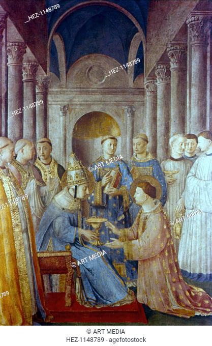 St Sixtus II and his Deacon St Laurence, mid 15th century. St Sixtus II (d258) was elected Pope in 257 and martyred in 258 under Valerian's persecution