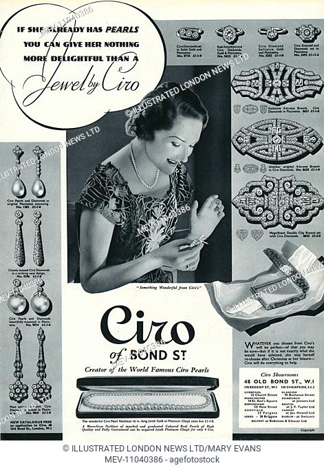 Advertisement for Ciro jewellery, 'If she already has pearls you can give her nothing more delightful than a Jewel by Ciro'