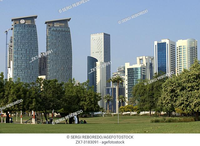 Modern skyline of the West Bay central financial district, Corniche promenade at Sheraton park Doha, Qatar, Middle East