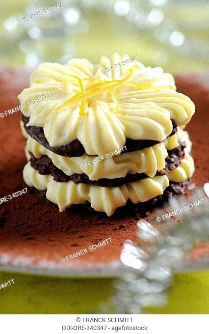 Chocolate and lemon mille feuilles