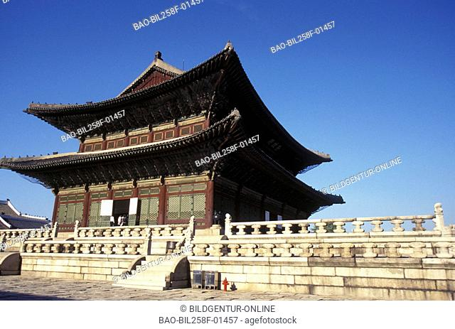 The Kyongbokkung palace in the centre in the capital of Seoul in South Korea in the east Asia