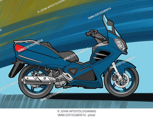Blue scouter motorbike with blue and green background