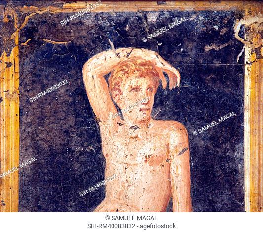 Italy, Naples, Naples Museum, from the Villa of Arianna in Stabiae, Naked Young Man on a Stool