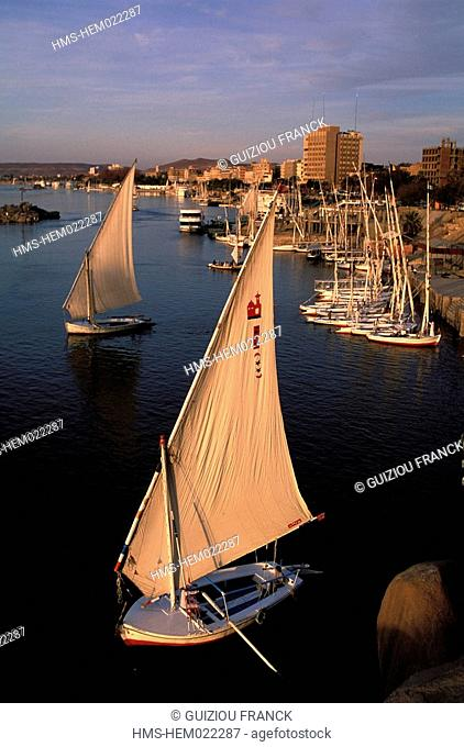 Egypt, Nile valley, Aswan, feluccas
