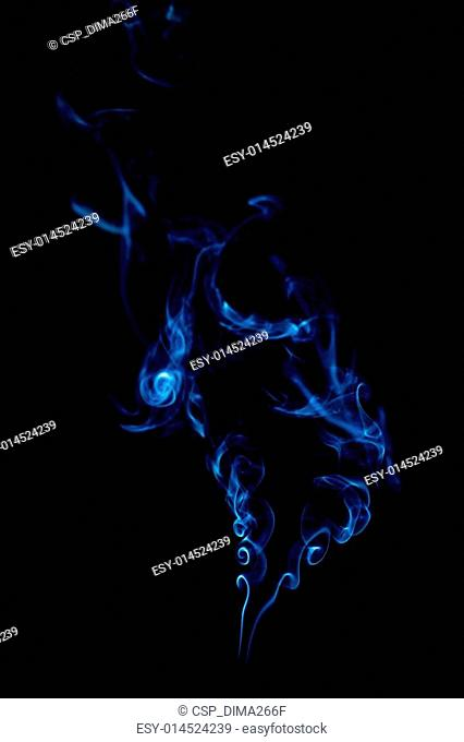 blue smoke rings on black background