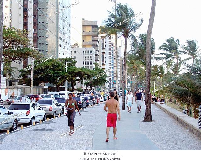people walking at pernambuco sidewalk