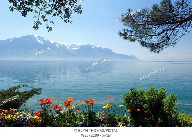 Pennine Alps and Lake Geneva viewed from the waterfront at Montreux, Switzerland, Europe