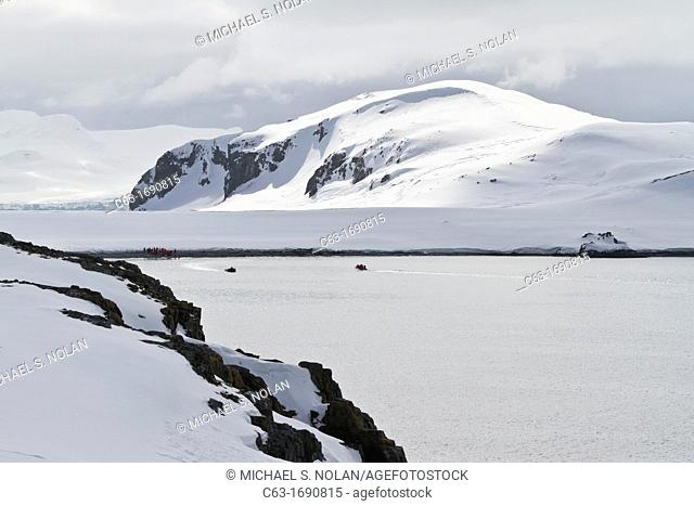 View of snow-covered Half Moon Island in the South Shetland Group, Antarctica, Southern Ocean