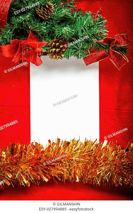 Christmas background blank note paper Top view