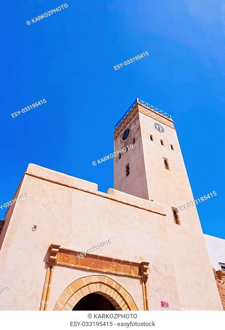 Gate with a clock tower to the old medina of Essaouira, Morocco, Africa