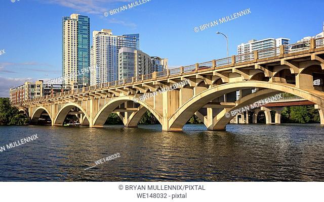 Austin city skyline and Congress Bridge over the Colorado River, Texas
